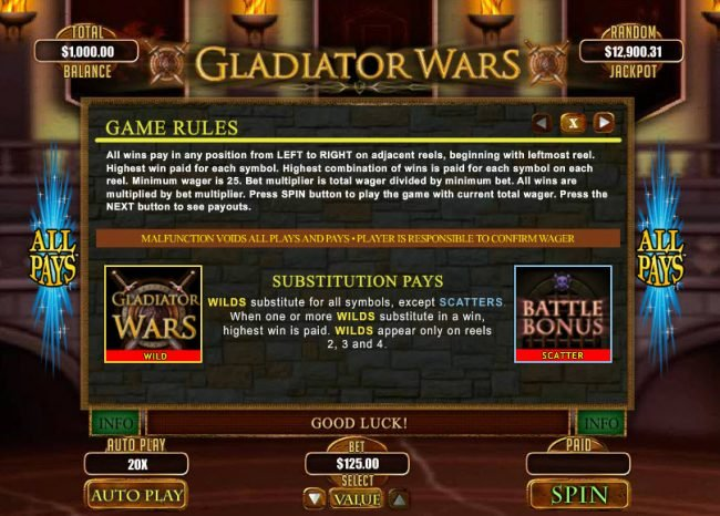 Wild Joker featuring the Video Slots Gladiator Wars with a maximum payout of $12,500