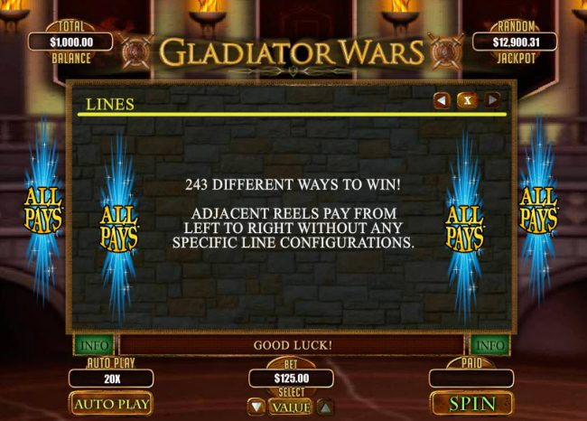 Slots.com featuring the Video Slots Gladiator Wars with a maximum payout of $12,500