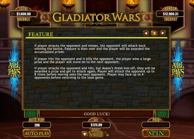 Play slots at Ruby Slots: Ruby Slots featuring the Video Slots Gladiator Wars with a maximum payout of $12,500