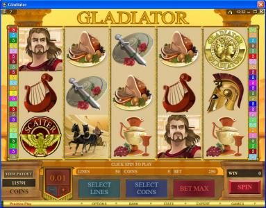 Wild Jackpots featuring the Video Slots Gladiator with a maximum payout of $10,000