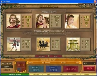 Wild Tornado featuring the Video Slots Gladiator with a maximum payout of $10,000