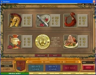Dublinbet featuring the Video Slots Gladiator with a maximum payout of $10,000