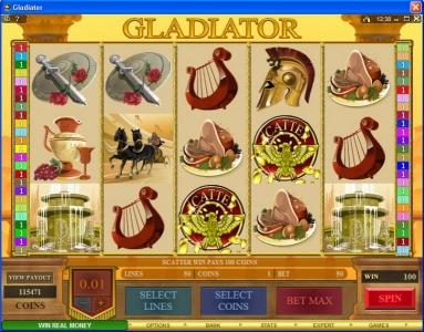 ZigZag777 featuring the Video Slots Gladiator with a maximum payout of $10,000