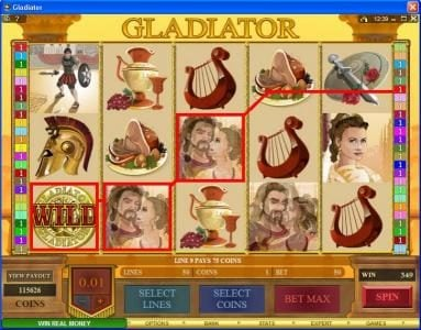 Win Paradise featuring the Video Slots Gladiator with a maximum payout of $10,000