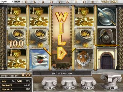 123 Vegas Win featuring the Video Slots Gladiator with a maximum payout of $2,000
