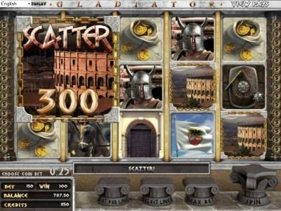Gladiator :: Three Scatter Symbols Pays Out A 300 Coin Jackpot