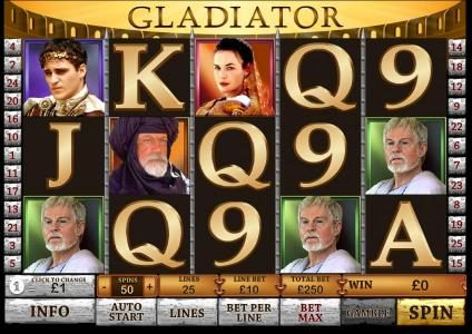 Play slots at Carnival: Carnival featuring the Video Slots Gladiator with a maximum payout of $250,000