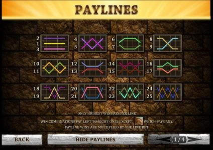 25 paylines - layout configurations
