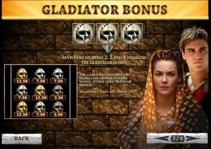 three or more gladiator masks anywhere on reels 2, 3 and 4 triggers the gladiator bonus