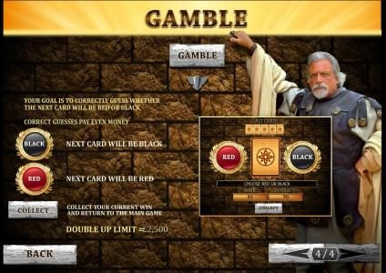 gamble feature available after each wining spin of the reels