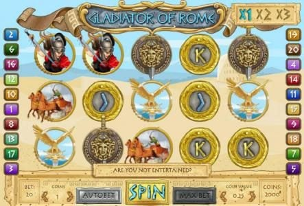 Play slots at Vegas Spins: Vegas Spins featuring the Video Slots Gladiator of Rome with a maximum payout of $22,500