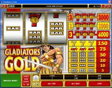 Play slots at Casino Classic: Casino Classic featuring the Video Slots Gladiators Gold with a maximum payout of $20,000