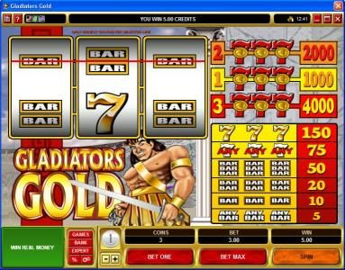 River Belle featuring the Video Slots Gladiators Gold with a maximum payout of $20,000