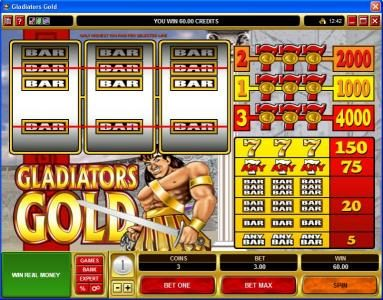 Casino Cruise featuring the Video Slots Gladiators Gold with a maximum payout of $20,000