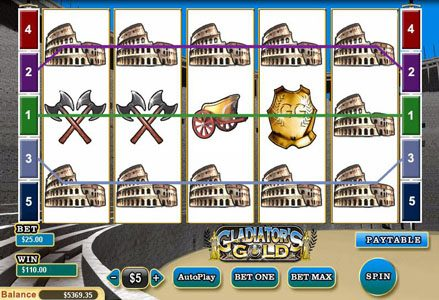 Liberty Slots featuring the Video Slots Gladiator's Gold with a maximum payout of $10,000