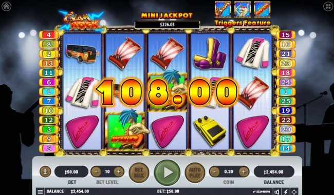 Winward featuring the Video Slots Glam Rock with a maximum payout of $2,500,000