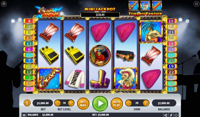 Vive Mon Casino featuring the Video Slots Glam Rock with a maximum payout of $2,500,000