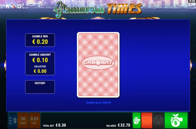 Glamorous Times :: Card Gamble Feature Game Board