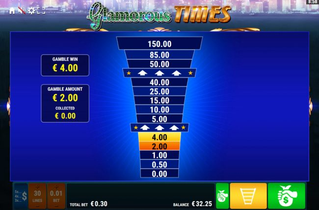 Glamorous Times :: Ladder Gamble Feature Game Board