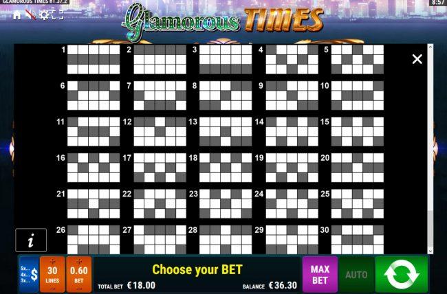Glamorous Times :: Paylines 1-30