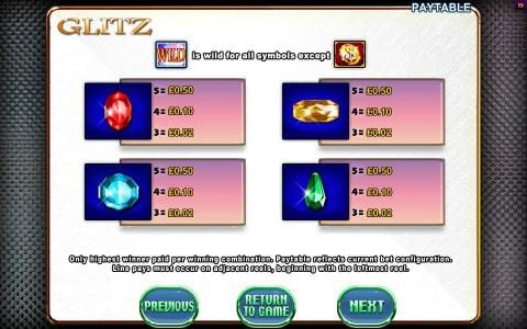 Glitz :: Slot Game Symbols Paytable Continued - Only highest winner paid per winning combination. Paytable reflects current bet configuration. Line pays must occur on adjacent reels, beginning with the leftmost reel.