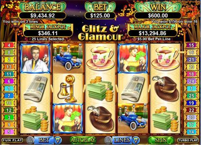 Plenty Jackpots featuring the Video Slots Glitz & Glamour with a maximum payout of 50,000