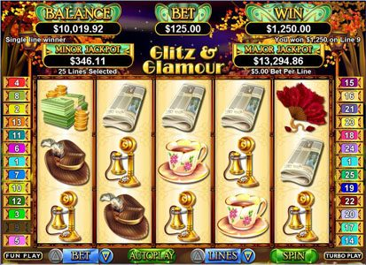 Captain Jacks featuring the Video Slots Glitz & Glamour with a maximum payout of 50,000