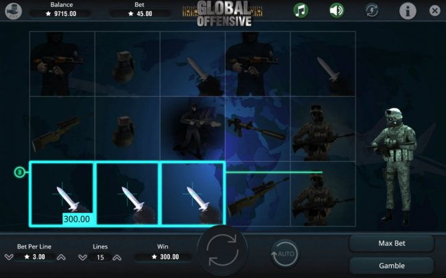 Oshi featuring the Video Slots Global Offensive with a maximum payout of $112,500