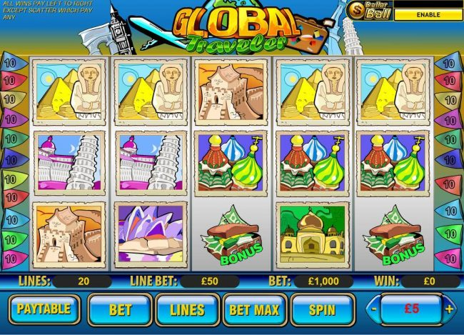 Money Storm featuring the video-Slots Global Traveler with a maximum payout of $1,500,000