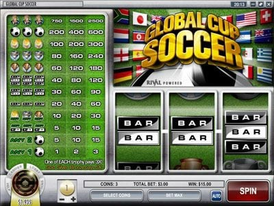 Break Away featuring the Video Slots Global Cup Soccer with a maximum payout of $75,000
