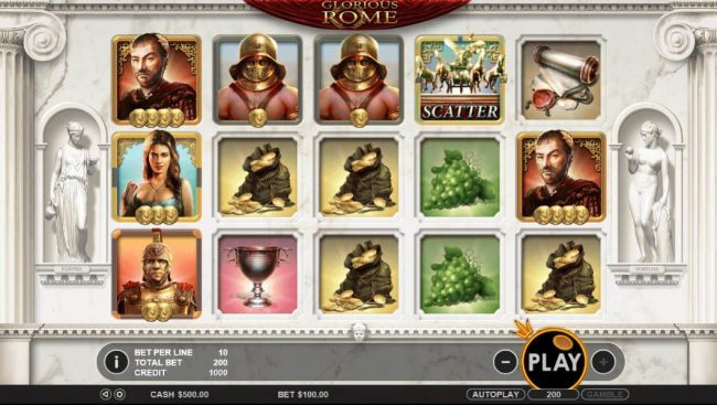 Spiral featuring the Video Slots Glorious Rome with a maximum payout of $50,000