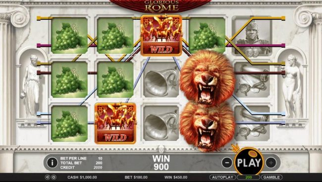 Play slots at Go Wild: Go Wild featuring the Video Slots Glorious Rome with a maximum payout of $50,000