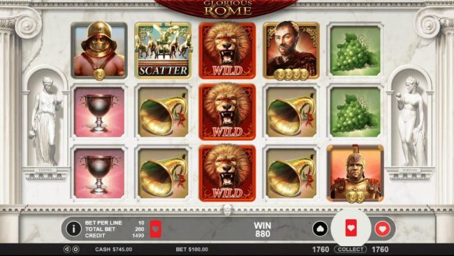 Kingbit Casino featuring the Video Slots Glorious Rome with a maximum payout of $50,000