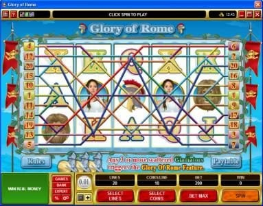 Queen Vegas featuring the Video Slots Glory of Rome with a maximum payout of $50,000