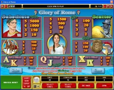 Casino Kingdom featuring the Video Slots Glory of Rome with a maximum payout of $50,000
