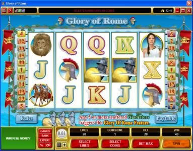 Lucky 247 featuring the Video Slots Glory of Rome with a maximum payout of $50,000