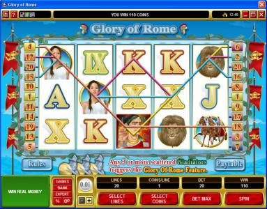 Roxy Palace featuring the Video Slots Glory of Rome with a maximum payout of $50,000