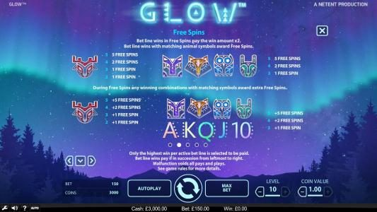 Glow :: Free Spins - Bet line wins in free spins pay the win amount x3. Bet line wins with matching animal symbols award free spins.