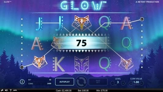 Glow :: A pair of winning paylines triggers a 75 coin payout.