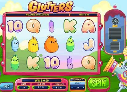 Jackpot Paradise featuring the Video Slots Glutters with a maximum payout of $5,000
