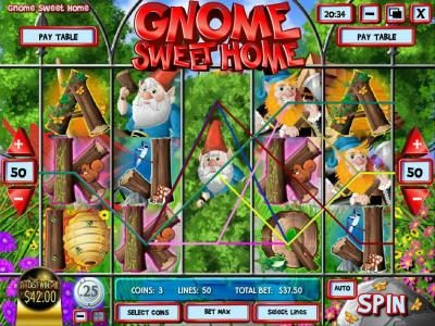 Vegas Aces featuring the Video Slots Gnome Sweet Home with a maximum payout of $12,500
