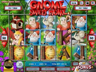 Simon Says featuring the Video Slots Gnome Sweet Home with a maximum payout of $12,500