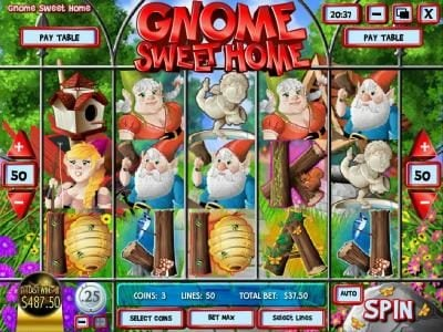 Golden Lion featuring the Video Slots Gnome Sweet Home with a maximum payout of $12,500