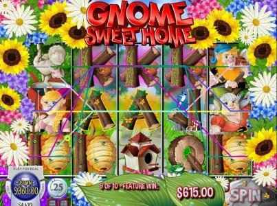 Gnome Sweet Home :: Multiple winning paylines triggers $360 jackpot during free spins feature