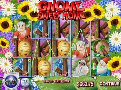 Play slots at Ignition: Ignition featuring the Video Slots Gnome Sweet Home with a maximum payout of $12,500
