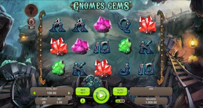 Gnomes Gems :: Main game board featuring five reels and 20 paylines with a $5,000 max payout.