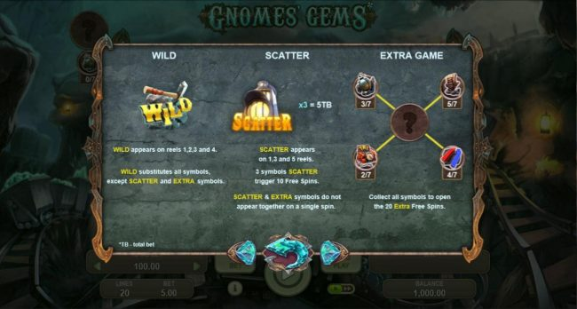 Gnomes Gems :: Wild, Scatter and Extra Game Symbols Rules and Pays