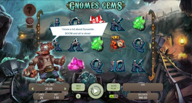 Gnomes Gems :: TNT symbol landing on the reels will cause an explosion
