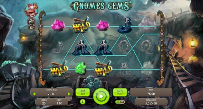 Gnomes Gems :: TNT feature triggers multiple winning paylines