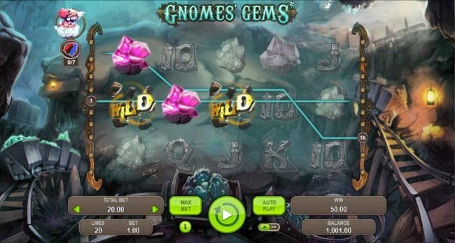 Gnomes Gems :: Arrow feature leads to a pair of winning paylines